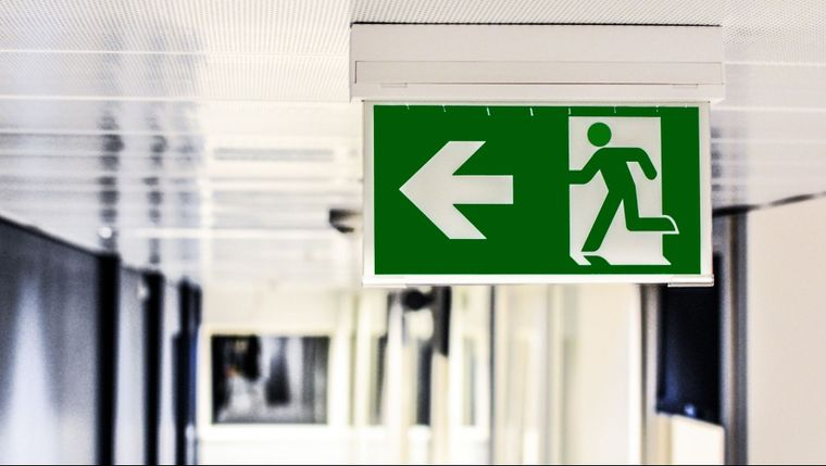 An emergency exit sign that we installed.